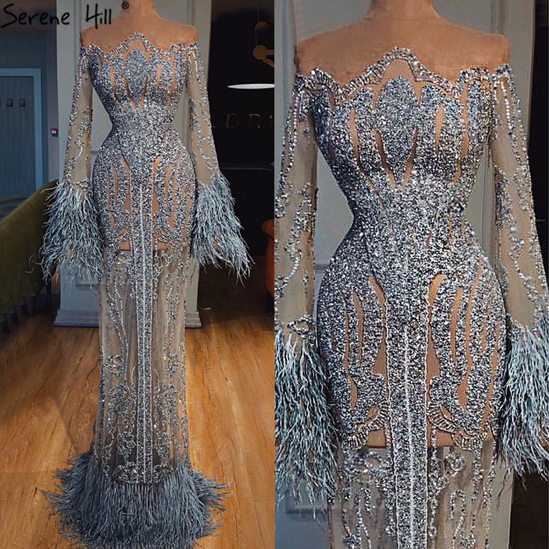 Silver Long Sleeve Feathers Sequined Evening Dresses Dubai Mermaid Luxury Evening Gowns 2019 Serene Hill LA60932