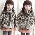 Caliente de los bebés de leopardo acolchado Toddler Kids espesar traje para la nieve chaquetas Outwear