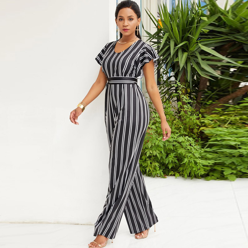 a889c2533aca Elegant Fashion Ruffle Women Jumpsuit Short Sleeve White Black Striped  Summer Romper Wide Leg Trouser Long Overall Casual Outfit-in Jumpsuits from  Women s ...