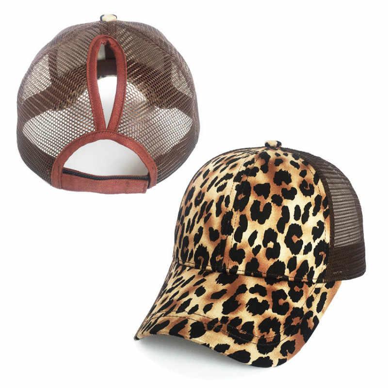 532da03f5b45c ... Fashion Leopard Ponytail Baseball Cap Women Messy Bun Baseball Hat  Snapback Summer Casual Girls Hip Hop ...