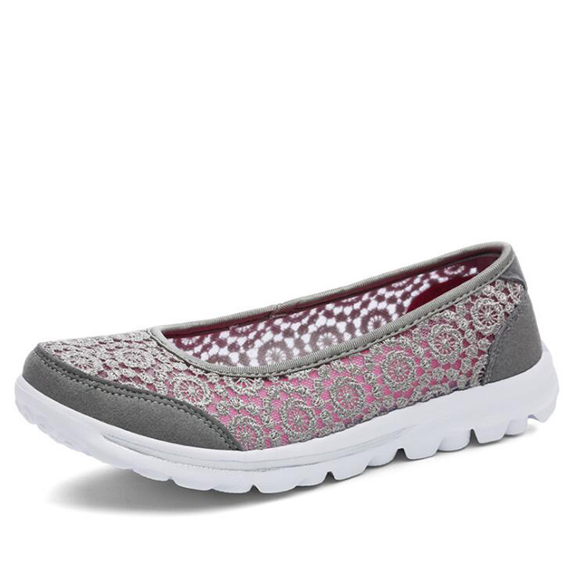 Women sneakers 2018 spring & summer women flat shoes high quality mesh casual shoes breathable women loafers shoes instantarts spring women air mesh flat shoes breathable golden retriever shiba inu flower sneakers woman casual flats big size