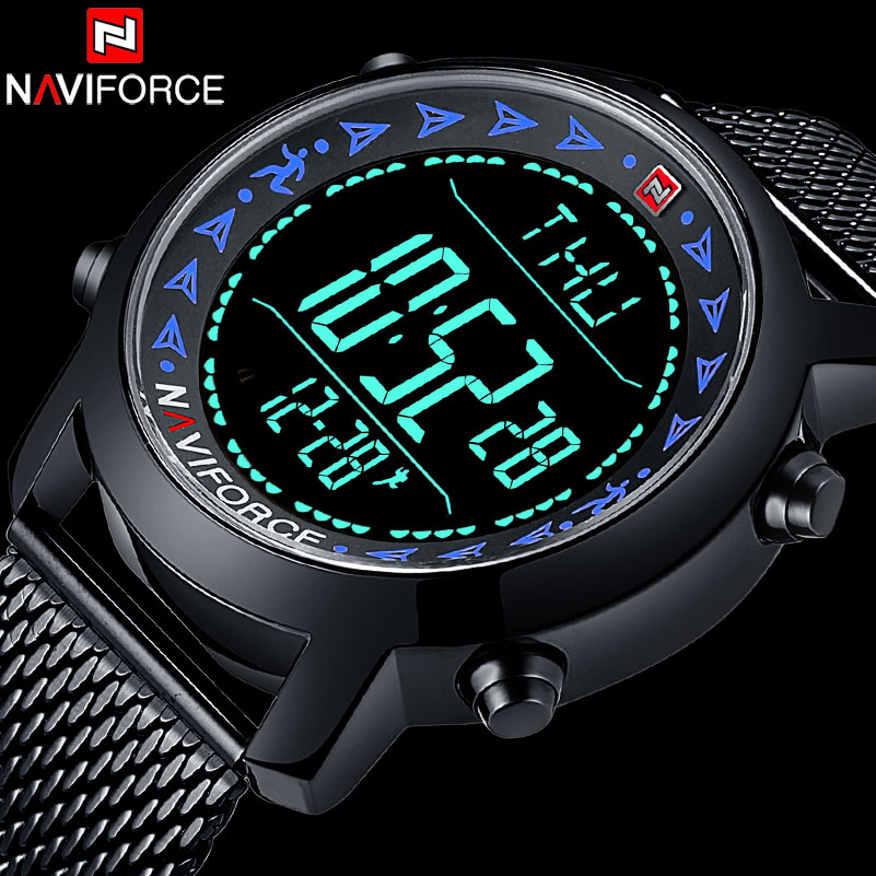 NAVIFORCE Top Brand Men Sports Watches Fashion Man Digital Watch Pedometer Wristwatches Steel Mesh Band Clock Relogio MasculinoNAVIFORCE Top Brand Men Sports Watches Fashion Man Digital Watch Pedometer Wristwatches Steel Mesh Band Clock Relogio Masculino