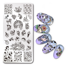 1Pc Rectangle Nail Stamping Plate Unicorn Flower Paisley SKull Rose Template Nail Art Image Plate Stencil