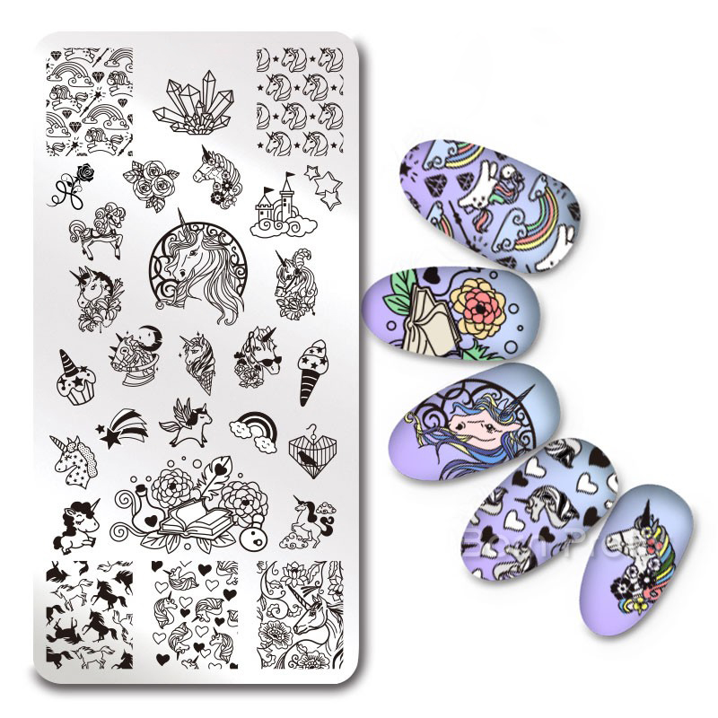 1Pc Rectangle font b Nail b font Stamping Plate Unicorn Flower Paisley SKull Rose Template font