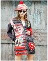 Nueva Personalidad de Las Mujeres Medio-Largo Parkas Pato Abajo Chaqueta de Invierno 2016 Femenino Delgado Abajo prendas de Vestir Exteriores Ocasional Abrigo de Alta Calidad