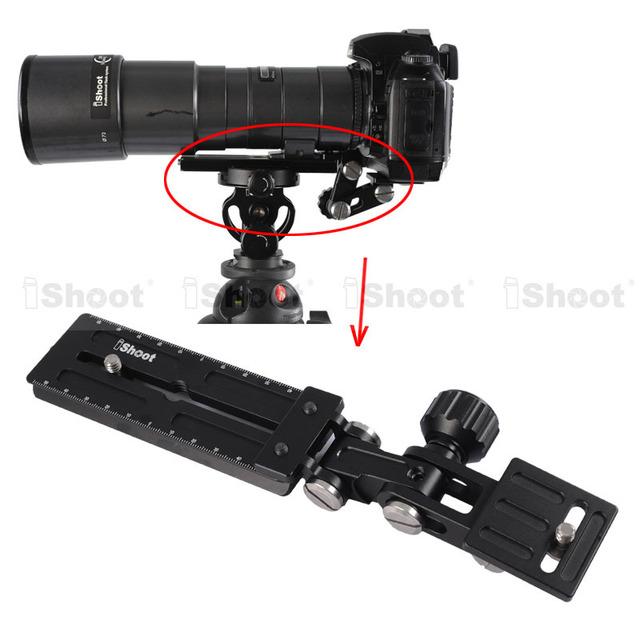 Lente Zoom telefoto soporte LongFocus lente soporte Holder 12 cm cámara placa de liberación rápida para la cabeza del trípode rótula anillo de montaje buena