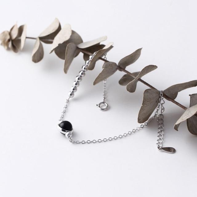 Bracelet Argent Et Onyx