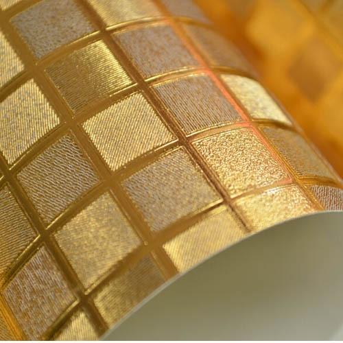 ФОТО Gold Mosaic Wallpaper Bathroom Kitchen Waterproof KTV Wine Ceiling Wall Paper papel de parede 3D Mural PVC Wall Decor Yellow