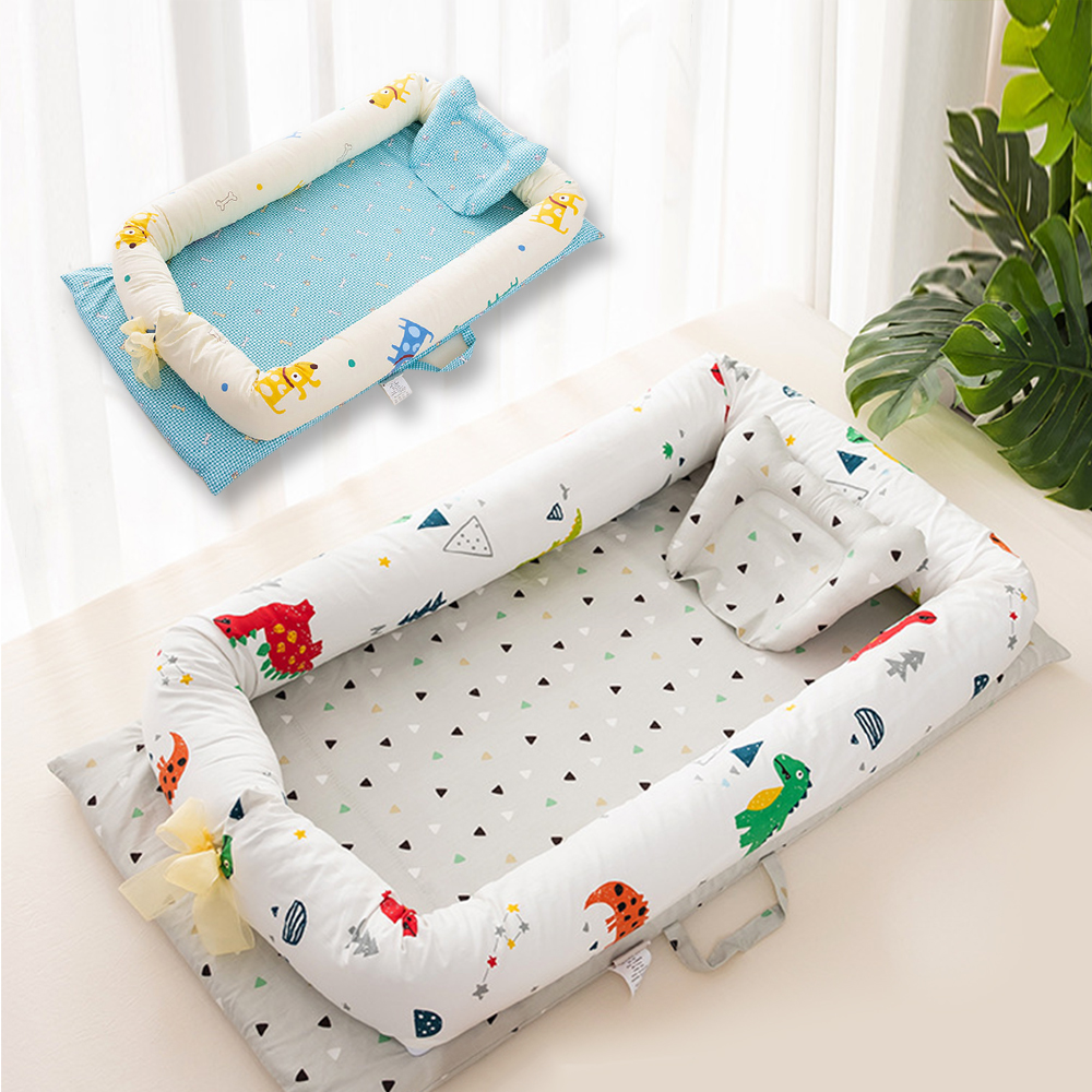 Portable Cartoon Baby Bed Bumper Crib Soft Cotton Baby Nest Washable Infant Crib Travel Bed With Pillow Children's Bed Babynest