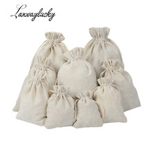 Coffee Bean Jewelry Pouch Storage Handmade Muslin Cotton Drawstring Packaging Gift Bags Wedding Favors Rustic Folk Christmas
