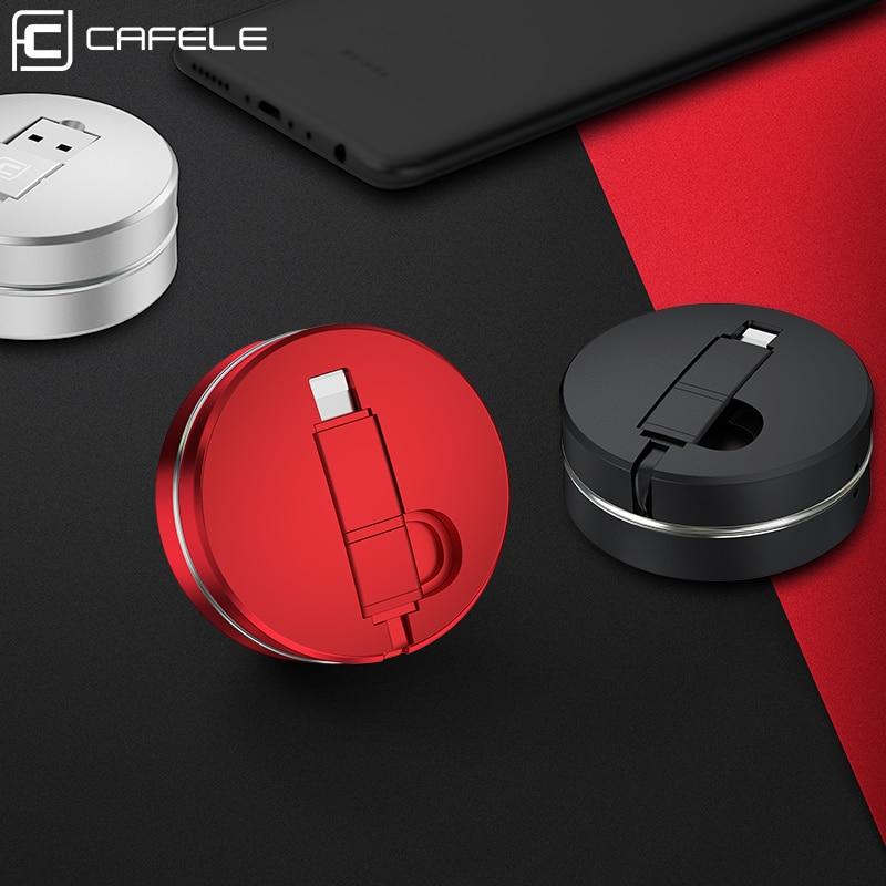 Cable USB Cafele 2in1 para iPhone XS 8 7 6 y Cable Micro USB Cable USB de carga portátil retráctil para iPhone 6 7 8 XS