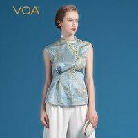 VOA Лето 2018 г. шелк Винтаж офисные для женщин топы корректирующие Мода Элегантный в китайском стиле бисер плюс размеры тонкий футболка с прин