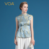 VOA 2019 Summer Silk Vintage Office Women Tops Fashion Chinese Style Elegant Beading Plus Size Slim Print T Shirt BSX00501