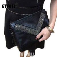 Horsehair+Real Leather Diamond Clutch Evening Bags Crystal Rhinestone Evening Purse Designer Brand Envelope Women Messenger Bag
