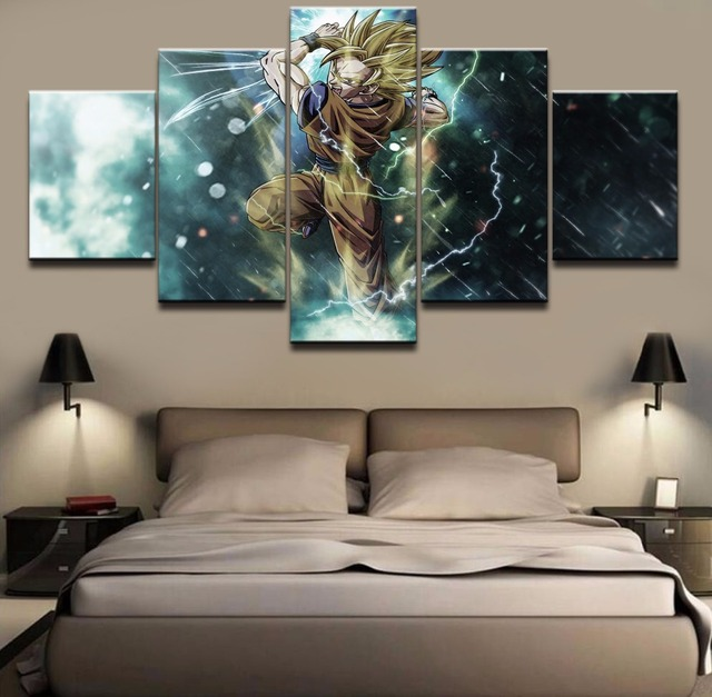 Buy 5 pieces canvas prints dragon ball z for Dragon ball z living room
