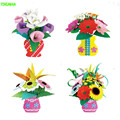HAPPYXUAN 4pcs/lot  Make Eva Flower Pot Child DIY Toy Artificial Flower Material Kit Different design for girls