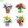 Happyxuan 4 unids/lote hacer maceta de eva niño diy juguete material de la flor artificial kit de diseño diferente para las niñas