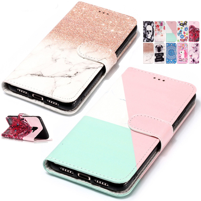 Painted Flip <font><b>Case</b></font> Wallet Leather Cover For <font><b>Huawei</b></font> Honor 7C 6X 9i Mate 9 Pro P20 <font><b>P10</b></font> Lite P8 Mini Phone <font><b>Case</b></font> for P9 LITE 2017 B05 image