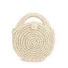 FGGS Round Paper rope Beach Bag Summer mini Vintage Handmade Crossbody Leather