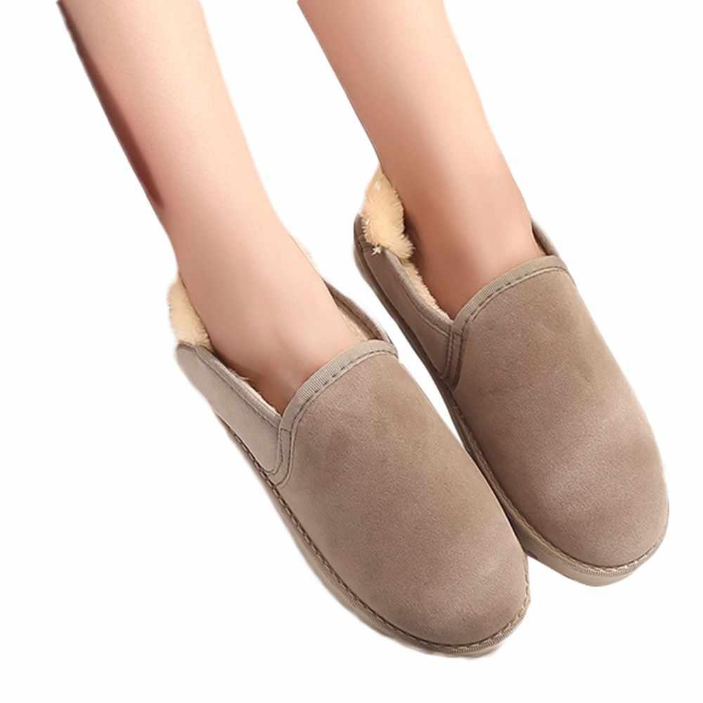 Botas de nieve para mujer, zapatos de invierno, botas de tobillo Unisex, deslizantes de piel peluda, zapatos de felpa cálidos de talla grande de mujer