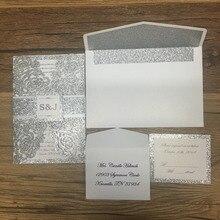 Роскошная лазерная резка Блестящая серебряная бумага 3d Пригласительные открытки для свадьбы персонализированная печать со стандартным конвертом