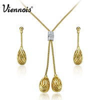 Viennois Gold/Silver Color Hollow Out Jewelry Set For women Rhinestone Drop Necklaces & Earrings Metallic Female Jewelry Set