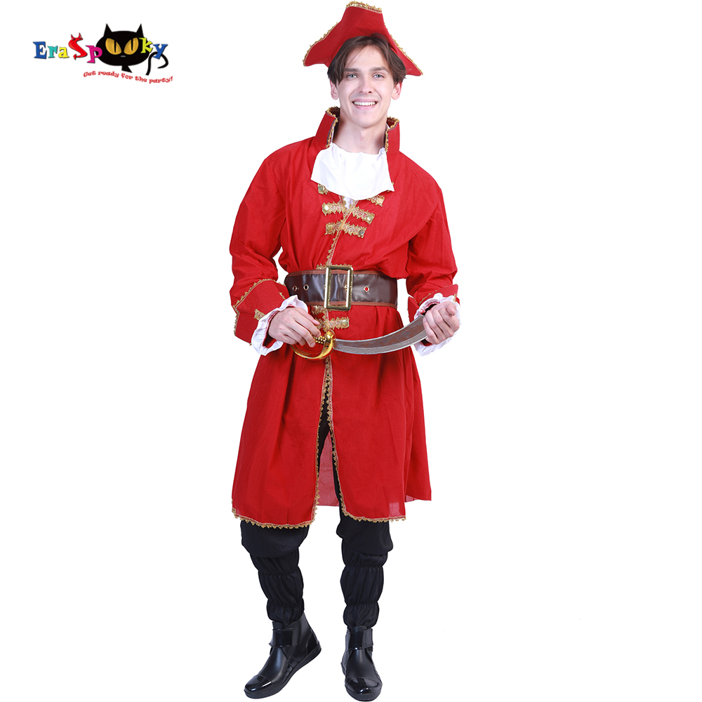 Eraspooky Halloween Costume For Adult Red Soldier Pirate Cosplay Captain Blackheart Pirate Costume Medieval Costume Men