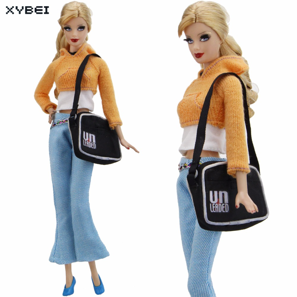 Handmade Winter Outfit Orange Sweater Shirt Blue Trousers Pants Handbag Shoes Clothes For Barbie Doll Accessories DIY Gifts Toys high quality elastic leather bottoms pants trousers for barbie doll clothes fashion outfit for 1 6 bjd dolls accessories