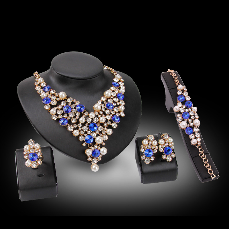 Bridal Wedding jewelry Sets For Women Party Exaggerated jewelry sets bridal clothing accessories necklace earring four sets 1159