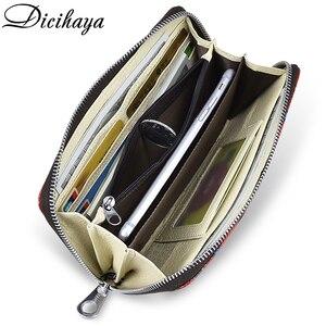 Image 4 - Dicihaya mulheres longas carteiras de impressão bolsa de moedas de couro senhora moneybags meninas estudantes bolsas embreagem carteira cartões titular sacos