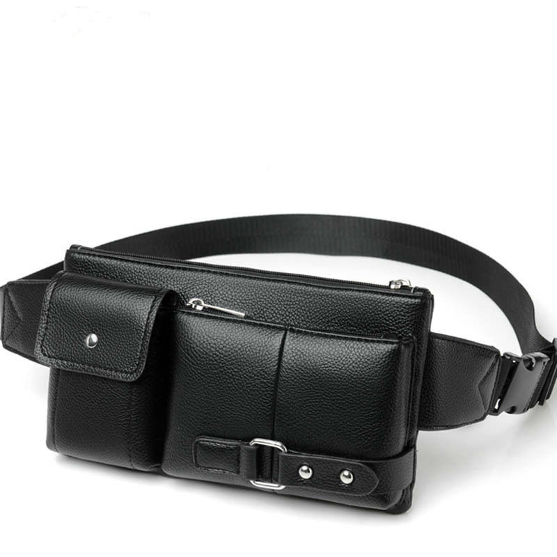 Men's Belt Bag Classic Solid Color PU Leather Waist Bag Outdoor Leisure Travel Fanny Pack Purse