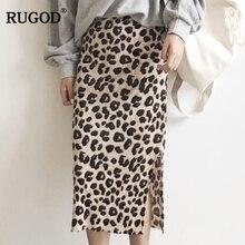 RUGOD 2018 Autumn Winter Corduroy Skirts Women Fashion Leopard Print Split Midi Skirt Saia Female Slim Pencil Skirt Faldas Mujer