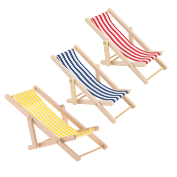 3 Pieces Dolls House Miniature Seaside Beach Deck Chair Striped Foldable Chair, 1:12 Scale фото