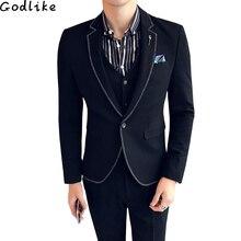 2018 men's suit 3 Pce Korean version Slim personality trend handsome Business Casual Single buckle suit groom wedding dress