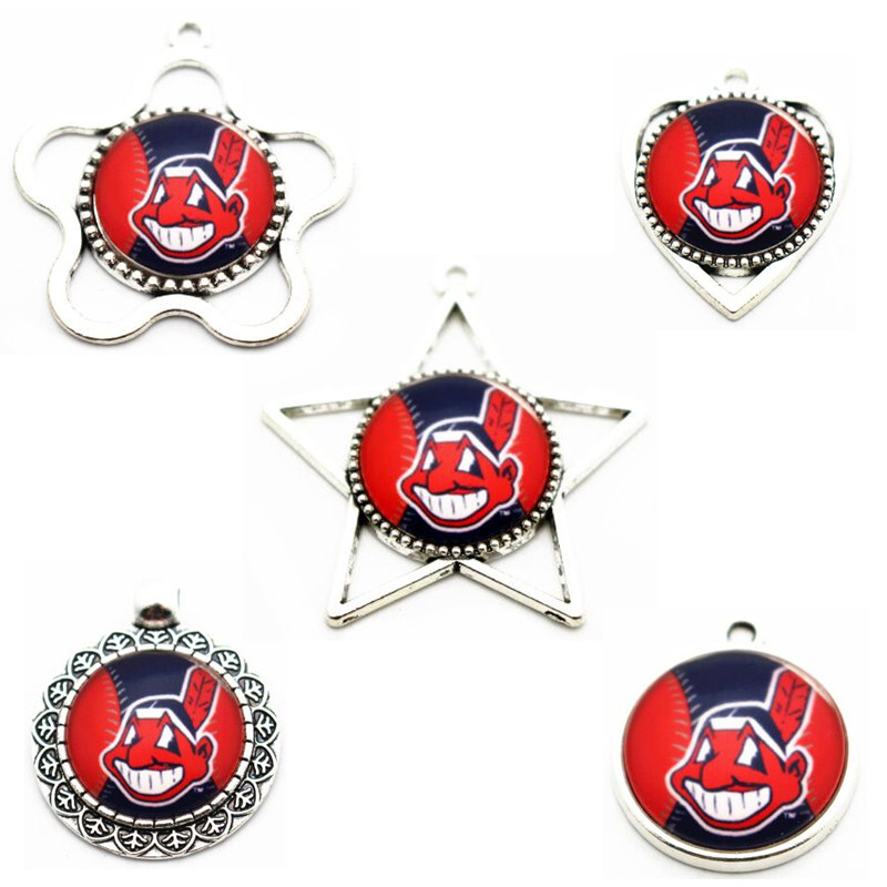 Mix5pcs/lot Cleveland Indians Sox Baseball glass Team sports dangle charms DIY necklace pendant hanging charm jewelry