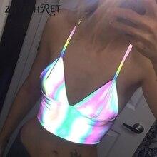 ZHYMIHRET 2020 yaz renkli yansıtıcı holografik kırpma üst kadınlar seksi V boyun tankı üstleri Haut Femme Camiseta Tirantes Mujer