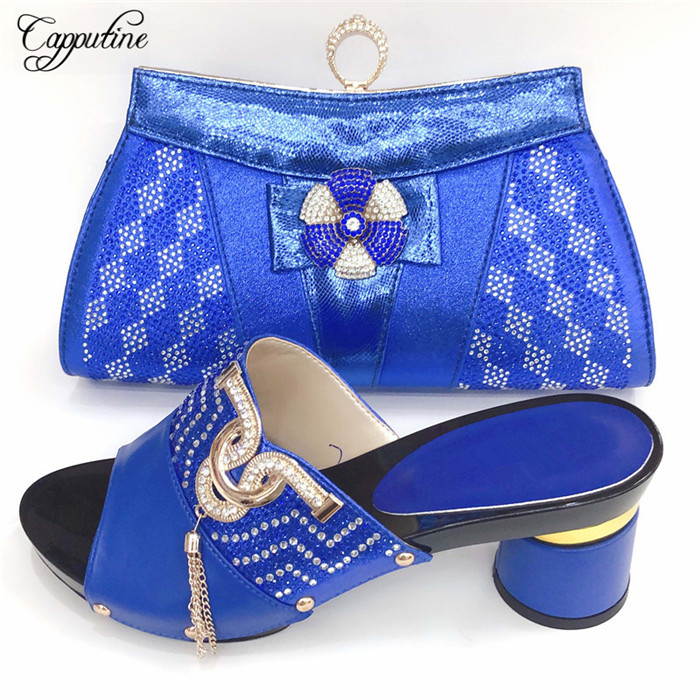 Hot sale royal blue pumps and bag latest lady shoes matching with handbag set for party  00887-1 ,heel height 8cmHot sale royal blue pumps and bag latest lady shoes matching with handbag set for party  00887-1 ,heel height 8cm