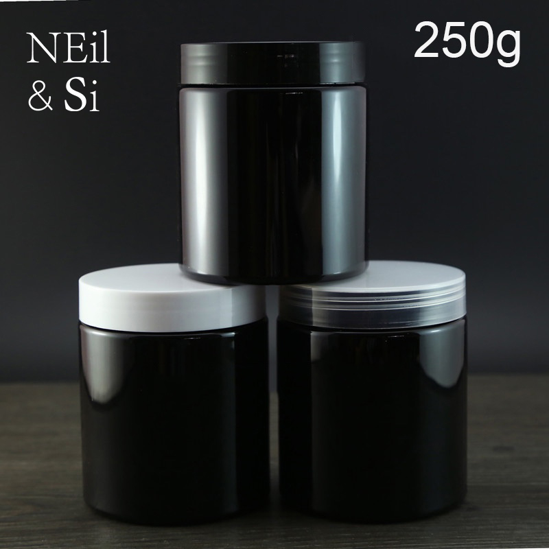 Black Plastic 250g Cosmetic Cream Bottle Refillable Body Lotion Jar Empty Facial Mask Storage Containers Light