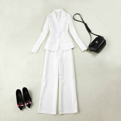 Новые модные женские Женская белый тонкий одной кнопки костюм из двух Костюм из нескольких предметов (куртка + свободные штаны) женские