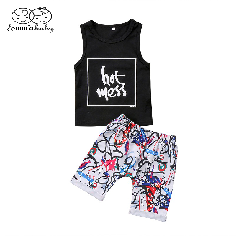 Emmababy Summer Fashion Newborn Clothes Set 2Pcs Toddler Baby Boy Cotton T-Shirt Tops Vest+Casual Shorts Outfits Clothing