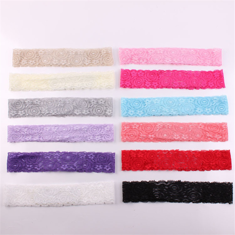 12pcs Lace Knitted Hairband Ribbon Hollowed Elastic Lace Band In Floral Pattern Soft Headband DIY Accessories Fashion Head Wrap