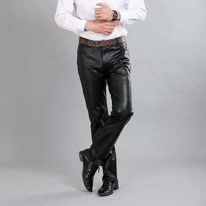 Image 3 - New Fashion Male Genuine Leather Pant 2020 Autumn High Street Straight Loose Classic Trouser Biker Soft Pantalon Man Plus Size