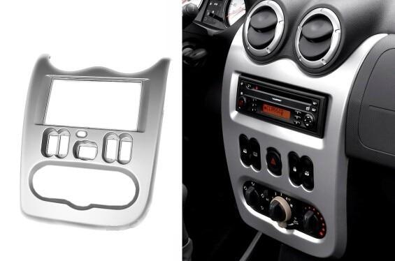 Double Din Car Radio Facia for RENAULT Logan Stereo Dash Kit Installation Fascia Face Panel Frame car radio stereo face facia surround trim kit for mazda 2 mazda2 demio stereo fascia dash cd trim installation kit