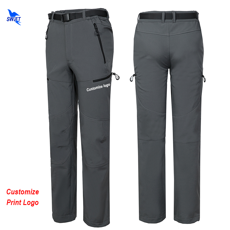 Customize Logo 2018 New Winter Men Hiking Pants Outdoor Softshell Trousers Waterproof Fleece Thermal for Camping
