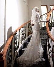 White High Neck Long Sleeve Mermaid Luxury 2019 Muslim Arabic Wedding Dress Boho Sofuge Vestido De Noiva