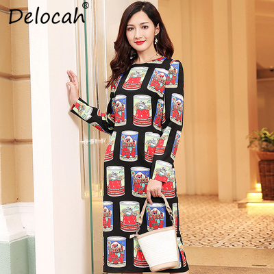 8f6e94bc27 $Sales Delocah Autumn Women Dresses Runway Fashion Designer Long Sleeve  Vintage Printed Holiday Party Slim Midi Pencil Dress Vestidos-in Dresses  from ...