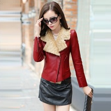 New! Fashion high-grade Faux Leather leather jacket women short slim Waterproof Thick Fur coat Women PU leather leather coat