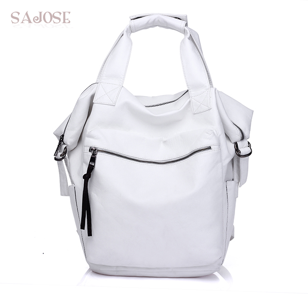SAJOSE Fashion Hand Backpack White Medium Multifunction Shoulder Messenger School Bag Women Leather Backpacks For Teenage Girls