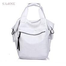 Sajose Мода ручной Рюкзак белый средний многофункциональный плеча школьная сумка Для женщин кожа Рюкзаки для подростков Обувь для девочек