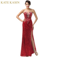 New! High Split Evening Dresses Party Gowns Crystal Sequins Formal Evening Dress Gown Red Carpet Long Prom Dresses 2017 6102
